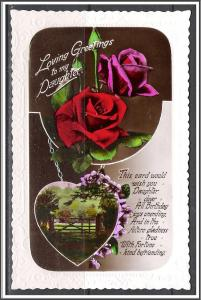 Birthday Greetings To My Daughter Roses Scene RPPC