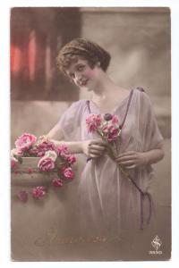 Beautiful Woman Anniversary Pretty Lady Tinted Real Photo
