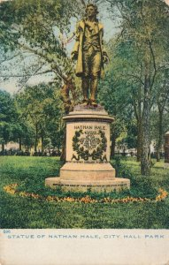 Nathan Hale Monument in City Hall Park NYC, New York City - DB