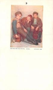 Post Card Old Vintage Antique Waiting for the Papers Unused
