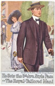 New York NY Royal Tailored Man He Sets 5th Avenue Style Pace 1913 Postcard