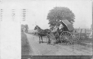 G45/ Athens Ohio RPPC Postcard 1908 Horse Buggy Country Road