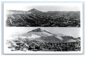 Postcard Cripple Creek in 1908 & 1946, CO split-view 1948 RPPC H13