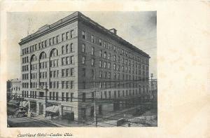 Canton Ohio~Courtland Hotel~Power Lines Everywhere~Horse Buggy~1909 B&W Postcard