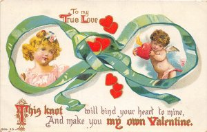 G2/ Valentine's Day Love Postcard c1910 Cupid Girl Ribbon Hearts 2