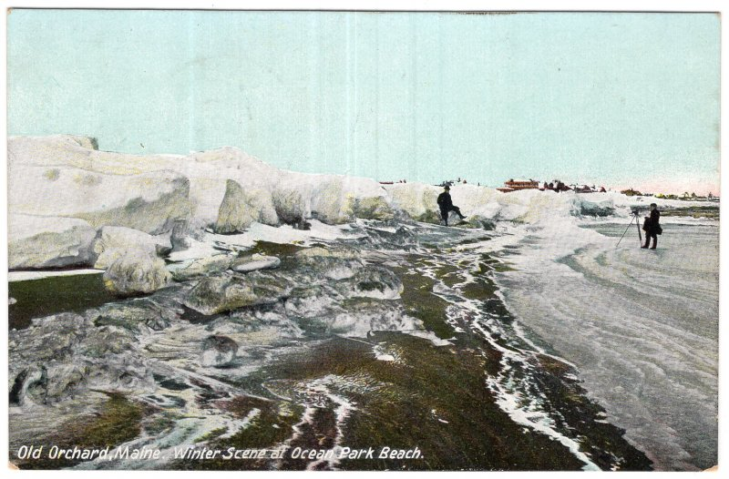 Old Orchard, Maine, Winter Scene at Ocean Park Beach