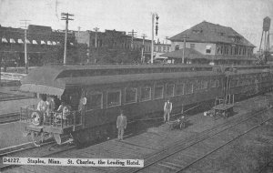 Staples Minnesota railroad train & workers St. Charles Hotel antique pc ZE686169