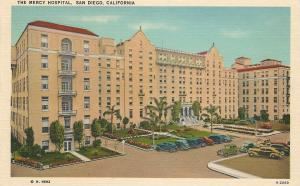 The Mercy Hospital, San Diego, California, Early Linen Postcard, Unused