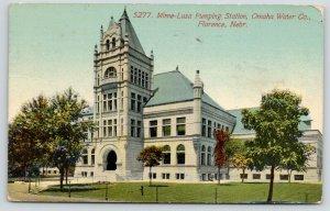 Florence Nebraska~Minne-Lusa Pumping Station~Omaha Water Company~1911 Postcard
