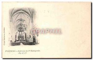 Old Postcard Poitiers Interior of St Radegonde