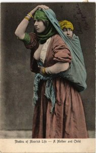 PC CPA Studies of Moorish Life. A Mother and Child FEMALE ETHNIC NUDE (a10935)