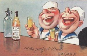 CUBA, PU-1941; Greetings, The Perfect Duet Sailors drinking shots of Bacardi