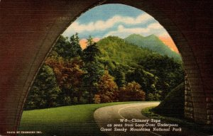 Tennessee Smoky Mountains Chimney Tops As Seen From Loop-Over Underpass Curteich