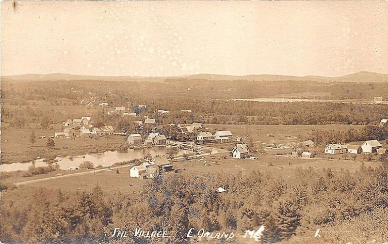 East Orland ME Birdseye View The Village RPPC Postcard