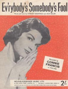 Everybodys Ev'rybodys Somebodys Fool Connie Francis 1960s Sheet Music