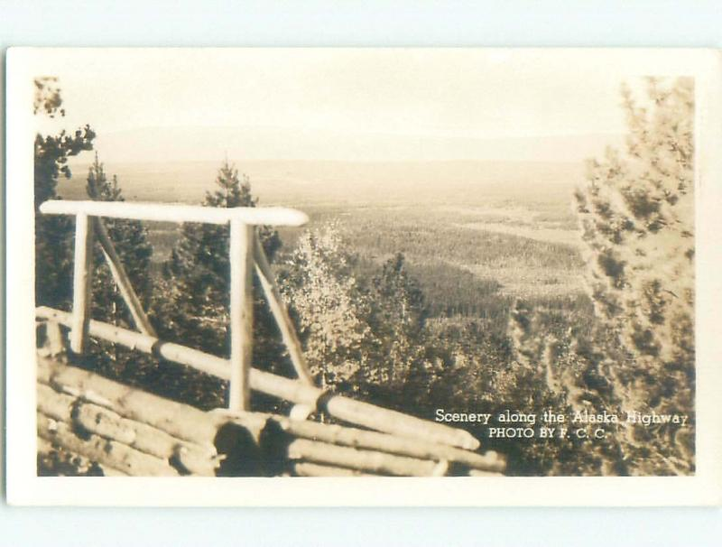Pre-1949 rppc SCENERY ALONG ALASKA HIGHWAY Province Of British Columbia BC W1043