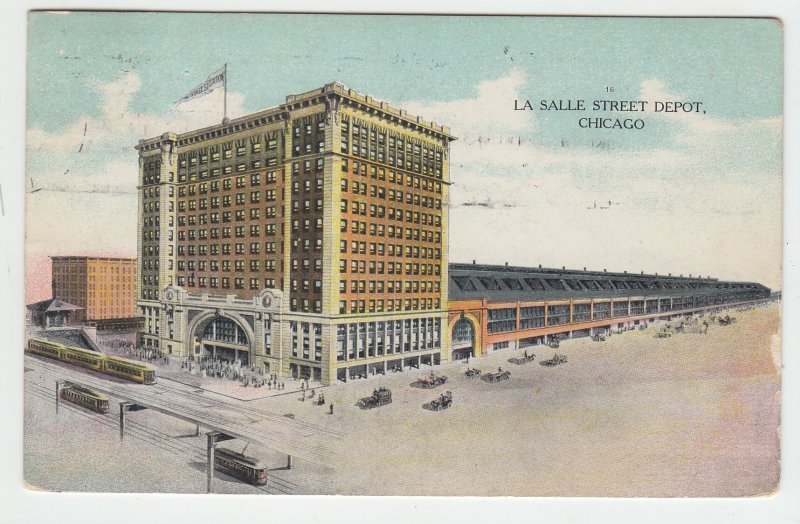P1984, 1909 postcard air view la salle street RR train depot people trains cars
