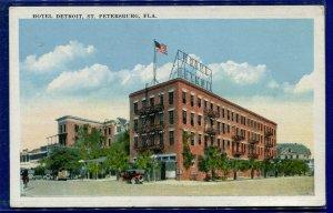 Hotel Detroit St Petersburg Florida fl 1920s white bordered postcard