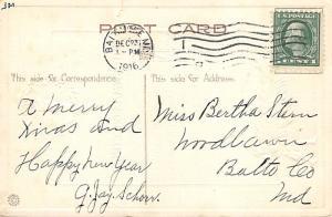 Christmas Post Card Old Vintage Antique Xmas Postcard Damaged 1916