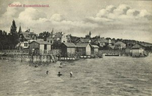 hungary, BALATONFÖLDVÁR, Panorama with Swimming People (1910s) Postcard