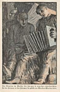 MOHLFAHRTS AUSFCHUB-GERMAN SOLDIERS-ACCORDIAN-SING-WW1 MILITARY ARTIST POSTCARD