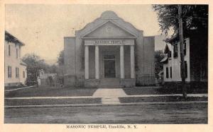 Unadilla New York birds eye view Masonic Temple entrance antique pc Z18729