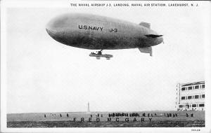1928 Lakehurst New Jersey Postcard: Landing The Ill-Fated Airship J-3