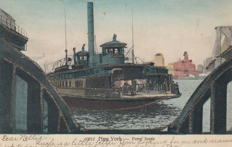 NEW YORK CITY, New York, PU-1906; Ferry Scale, Horse & Carriage, Glitter Detail
