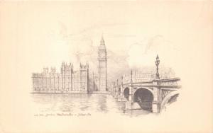 LONDON WESTMINSTER UK JUDGES #LS338 ARTIST DRAWN POSTCARD
