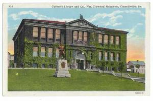 Carnegie Library, Crawford Monument, Connellsville Pennsylvania, PA, Linen