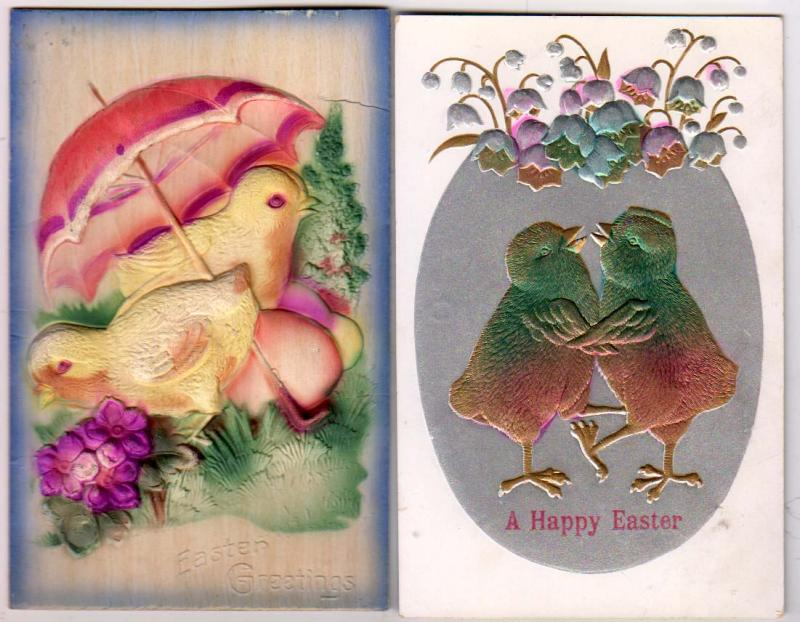 2 - Easter Cards, with Chicks - Heavy Embossed