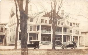 E5/ Chester Vermont VT Real Photo RPPC Postcard 1923 Fullerton Inn Automobiles