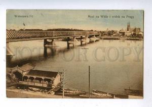 192538 POLAND WARSZAWA bridge & Wisla Vintage postcard