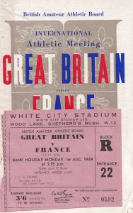 Great Britain France 1949 Amateur Athletics & Tickets Theatre Sports Programme