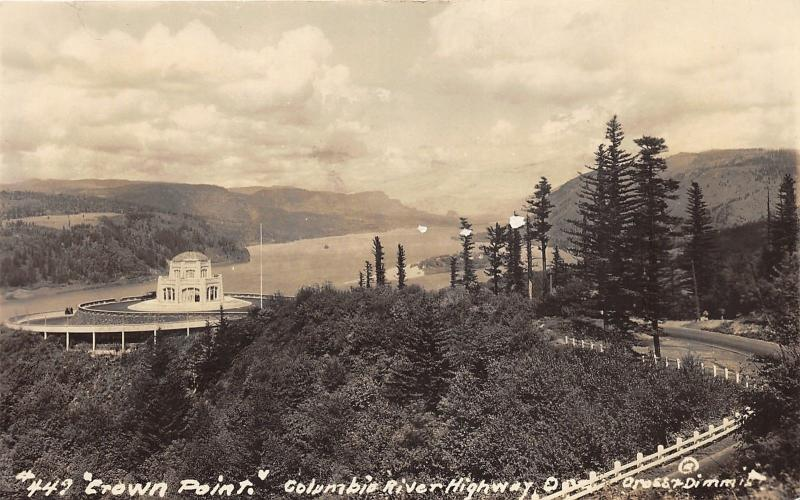 Columbia River Highway Oregon~Crown Point Vista House~Vintage RPPC-Postcard