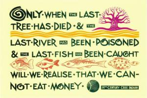 Cree We Cannot Eat Money Native American Quote Postcard #2