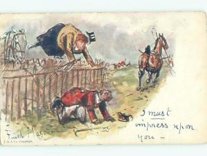 Pre-Linen Comic signed FAT WOMAN JUMPING OVER THE FENCE AB9077