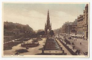 UK Edinburgh Scotland Princes Street Scott Monument Gardens Vintage Postcard