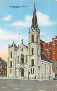 Peoria Illinois~Sacred Heart Catholic Church~1940s Linen Postcard