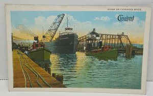 Cleveland Ohio Cuyahoga River Vintage Postcard