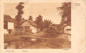 Java Indonesia~Malang Native Village~Water Ditch By Shacks~Natives~Kampong~1908