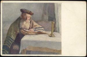 Old Jewish Man Reading Book, Lazar Krestin (?) (1910s) JUDAICA