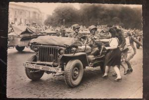 Mint France RPPC Postcard French Girls Welcome To American Troops
