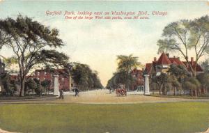 Chicago Illinois~Garfield Park Looking East on Washington Blvd~Vintage Car~1909