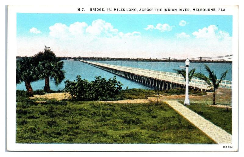 Early 1900s Bridge over Indian River, Melbourne, FL Postcard