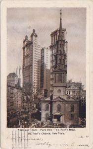 New York City American Tract Park Row Saint Pauls Building Saint Pauls Church...