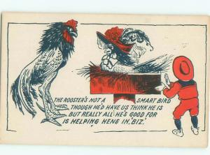 Pre-Linen Comic HUMANIZED CHICKEN WEARING A HAT AB9070