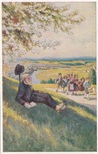 German School Trip Uniform Guide Man Book Antique Postcard
