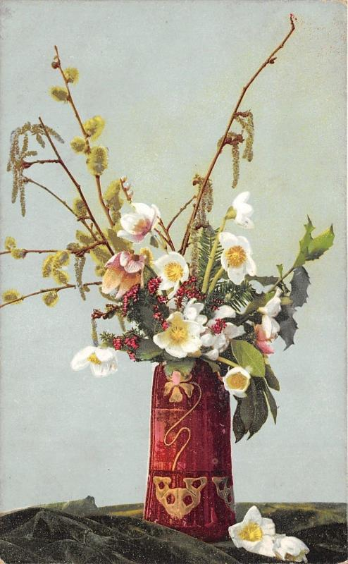 Bouquet of Flowers in Red Vase on Table~c1905 Postcard