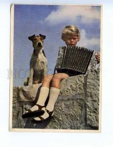 201806 Musician accordion fox terrier dog vintage postcard